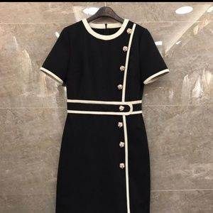 NWT gucci-like tiger button black and white dress